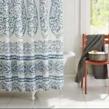 """POTTERY BARN Lori Paisley SHOWER CURTAIN Blue 72"""" X 72"""" Square Preowned"""