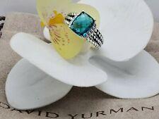 David Yurman  Petite Wheaton W/ London blue Topaz & Diamonds ring Sz 7.5