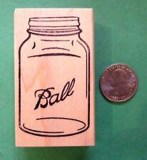 Ball Quart Jar Rubber Stamp, wood mounted