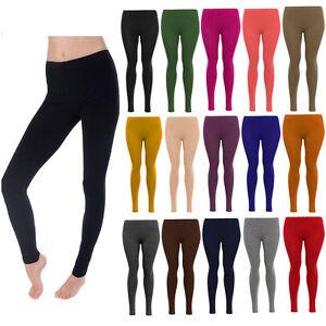 Womens Legging Ladies Plain Stretchy Viscose Full Length Leggings Plus Size 8-27