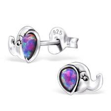 Girls Ladies 925 Sterling Silver Multi Lavender Opal Elephant Stud Earrings