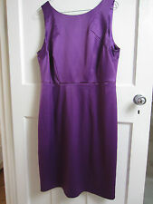 Stunning TEATRO Mad Men Style Purple Satin Cocktail Dress Lined Size 16