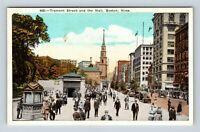 Boston MA, Common, Tremont Street Scene, Old Church, Massachusetts Postcard