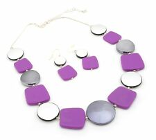Zest Geometric Tile Necklace & Drop Earrings Set Purple Grey & Silver