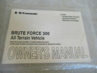 Kawasaki Brute Force 300 All Terrain Vehicle Owner's Manual P/N 99987-1763