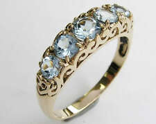 sR163 SOLID 9K Yellow Gold Natural Topaz Eternity Bridge Ring Anniversary size 6
