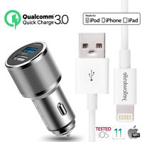 iPad Car Charger, 30W/5.4A Rapid Dual Port USB Car Charger Lightning USB Cable