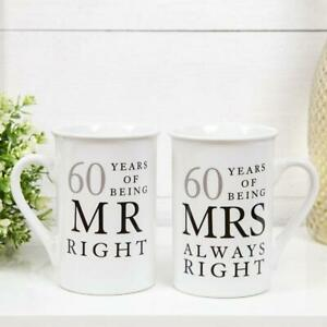 60th Diamond Wedding Anniversary Mugs Gift Set WG67760