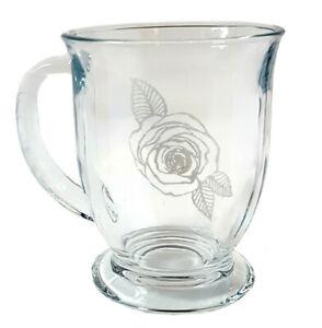 Rose Coffee Mug: Free Personalization, 16 ounce Glass Tea Cup