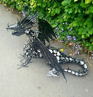 LARGE METAL DRAGON ORNAMENT LAYING DOWN  MYSTICAL MAGIC WELSH STATUE THEME