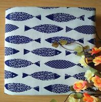 """FD4992* Vintage Fish Printed 58"""" Wide Linen Fabric Sewing Craft Material 1 Yard"""
