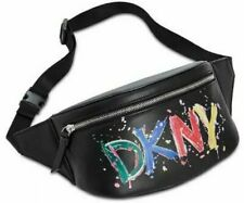 DKNY Belt Bag Tilly Logo Graffiti Black Zip Around Fanny Pack Crossbody $128 New