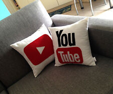 Set of 2 You Tube icon decorative pillows / cushion cases
