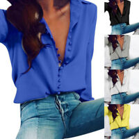 Women Casual V-neck Solid Ladies Fall Long Sleeves Blouse Lapel Button Top Shirt