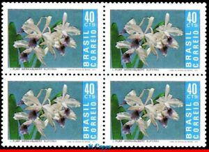 1203 BRAZIL 1971 ORCHID, FLORA, FLOWERS AND PLANTS, MI# 1297 RHM C-713 BLOCK MNH