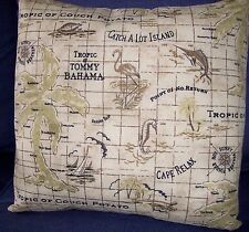 "Pillow Cover 16"" Tommy Bahama Indoor/Outdoor Island Song Rattan Tan Brown Green"