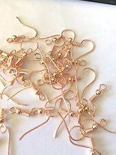 50 Rose Gold plated Earring Hooks 18mm jewellery findings 21 Gauge 25 pairs
