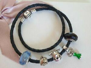 Pandora Lederarmband schwarz, Pandora Murano Glas + Tinkerbell + Biene + Glitzer