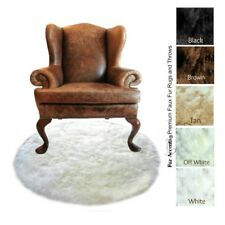 Round Faux Fur Throw Rug - White Shag Polar Bear - Sheepskin Flokati FUR ACCENTS