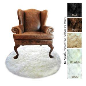 Round Faux Fur Throw Rug - White Shag Polar Bear - Sheepskin Flokati FUR ACCENTS