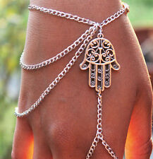 Asymmetric Unisex Hamsa Fatima Bracelet Finger Ring Slave Chain Hand Harness hs