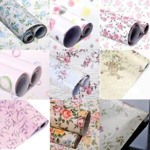 2m Floral Wallpaper Drawer Paper Self Adhesive Shelf Liner Vinyl Wrap Kitchen