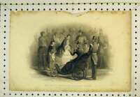 Original Old Antique Print Scene Her Majesty Distributing Crimean Medals Queen