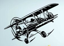 "Airplane Bi Plane Wall Decal Piolet Childs Bedroom Nursery Black Apx 31"" X 23"""