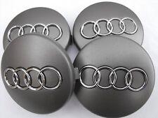 4x60mm AUDI Grey Wheel Center Caps Logo Emblem Badge Hub Caps Rim Caps