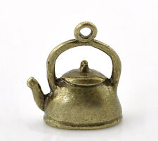 4 Antiqued Bronze Tone TEA KETTLE Charm Pendants 3-D design  CHB0066a