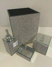 Bella Lux Crystal Mirror Bath Accessory Collection Set Bathroom Accessories