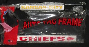 Kansas City Chiefs Metal License Plate Tag Frame NEW Ripped Bag