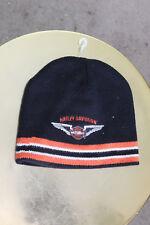 Harley Davidson Men's Striped Knit Beanie Hat Black Orange Logo New without Tags