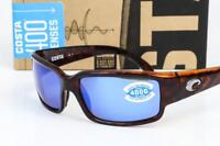 NEW COSTA DEL MAR CABALLITO SUNGLASSES Tortoise/Blue Mirror 400G Polarized lens