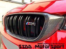 BMW F32 F80 F82 M3 M4 Carbon Fibre Gloss Black Kidney Grilles FREE M3 M4 Badges