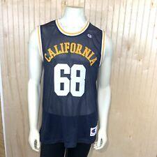Champion Men Large Jersey California #68 Navy Blue Yellow Basketball Sewn