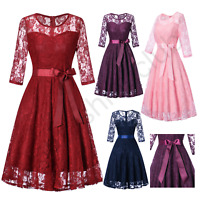 Women's Vintage Lace Round Neck Wedding Cocktail Party Bridesmaid Prom Dresses