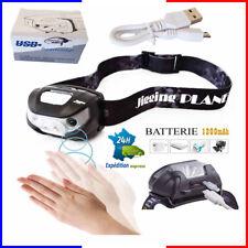 Lampe frontale rechargeable usb accu frontal  puissante  batterie torche led