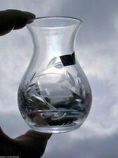 Small Decorative Stuart Crystal Cut Glass Stem Posy Vase Fuchsia Label Signed
