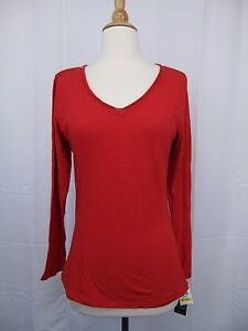 INC International Concepts Petite Long Sleeve V-Neck Tee PM Real Red #3308