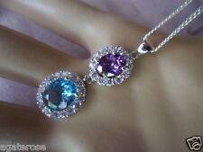 ANTIQUE VINTAGE TOPAZ AND AMETHYST PENDANT ON STERLING SILVER CHAIN NECKLACE