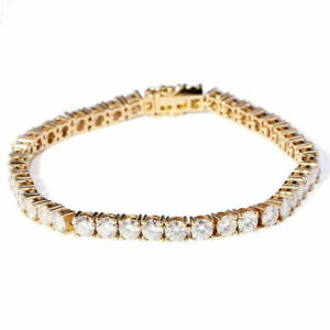 8 Ct Round Lab Created Moissanite Diamond Tennis Bracelets 10K Yellow Gold