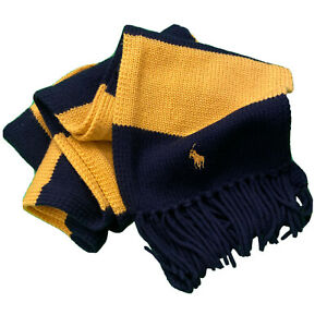 Polo Ralph Lauren OS Navy Blue Yellow Stripe Merino Wool Fringe Scarf Pony