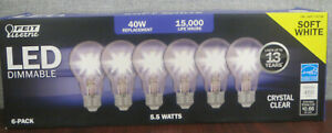 Feit 5.5W CRYSTAL CLEAR Dimmable LED Bulb 6-Pack Soft White 450lm 2700K ~NOP~