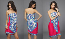 Strapless Boho Bohemian Style Slip on Print Dress. Brand new! PINK in s/m or l/x