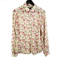 Ann Taylor LOFT Womens Size Small Floral Print Popover Blouse Long Sleeve Top