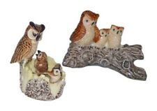 Miniatures en porcelaine _ CHOUETTES AVEC TRONC D'ARBRE 2 à 7cm _ Série complète