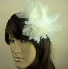 white feather fascinator hair clip headpiece wedding party fancy dress