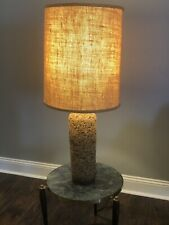 "Vtg 60s MCM Cork Danish Eames Era Atomic Modernist Retro 3 Way Table Lamp 26"""