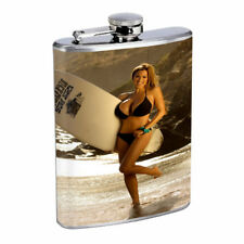 Surfer Pin Up Girls D10 Flask 8oz Stainless Steel Hip Drinking Whiskey